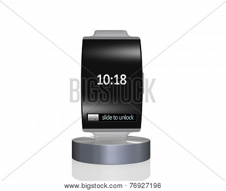 Black Glass Curve Screen Smartwatch On Showcase With Metal Watchband