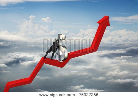 Businessman Push 3D Dollar Sign Upward On Red Trend Line