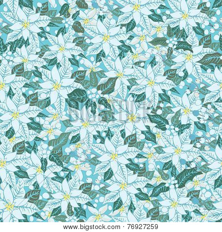 White poinsettia.Christmas seamless pattern, background