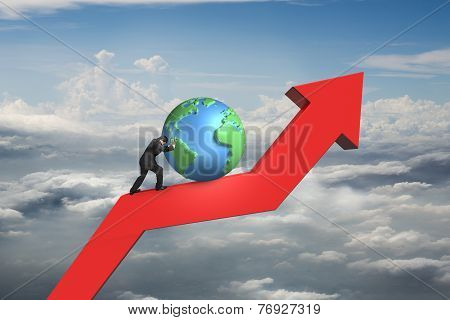 Businessman Push Globe Upward On Red Trend Line