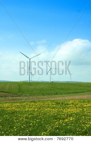 Wind Turbines, Blue Sky And Green Meadow