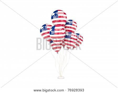 Flying Balloons With Flag Of Liberia