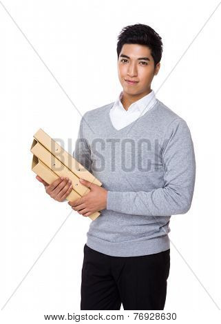 Asian businessman hold with folder