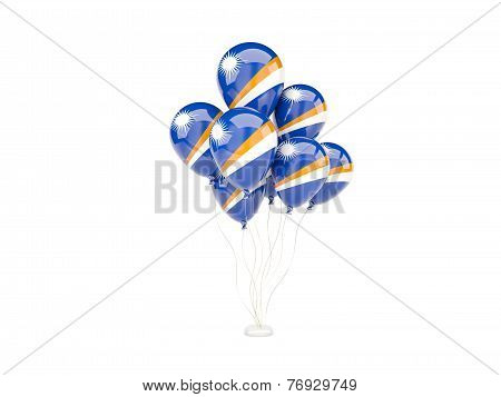Flying Balloons With Flag Of Marshall Islands