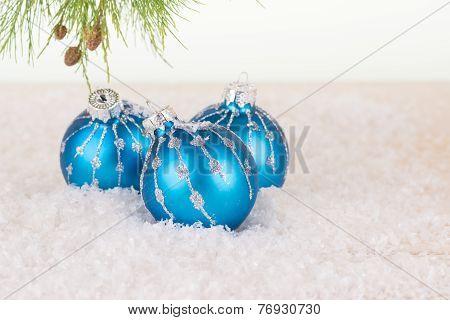 Blue Christmas Baubles Close-up