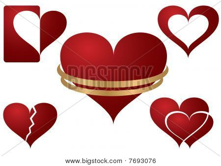 Heart With Wedding Ring And Other Heart Icons