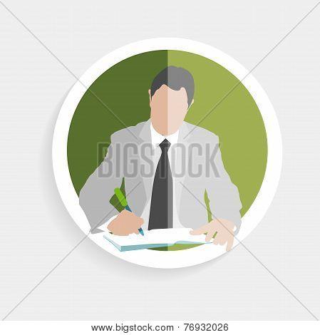 Vector round icon silhouette successful man