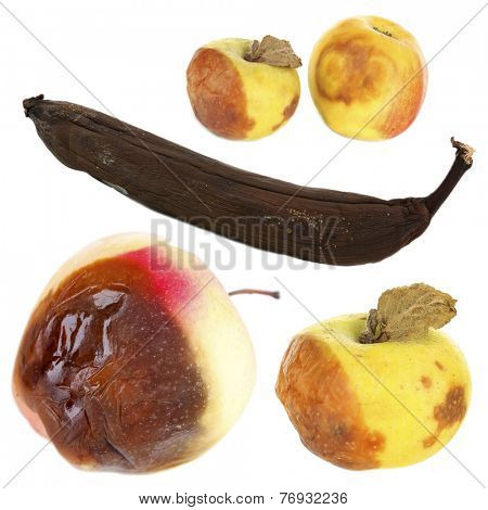 Rotten fruits isolated on white