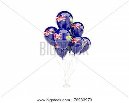 Flying Balloons With Flag Of Saint Helena