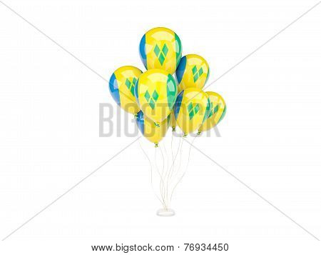 Flying Balloons With Flag Of Saint Vincent And The Grenadines