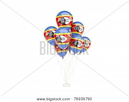 Flying Balloons With Flag Of Swaziland