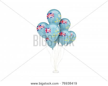 Flying Balloons With Flag Of Tuvalu