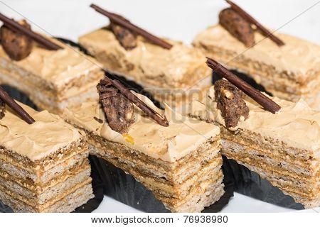 Walnut Sliced Cakes Close-up