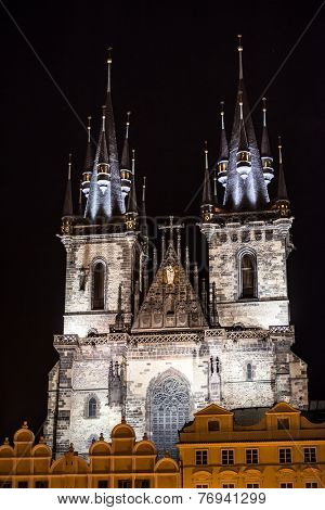 Church of Our Lady before Tyn in evening in Prague, Czech Republic. Church with towers height of 80 meters