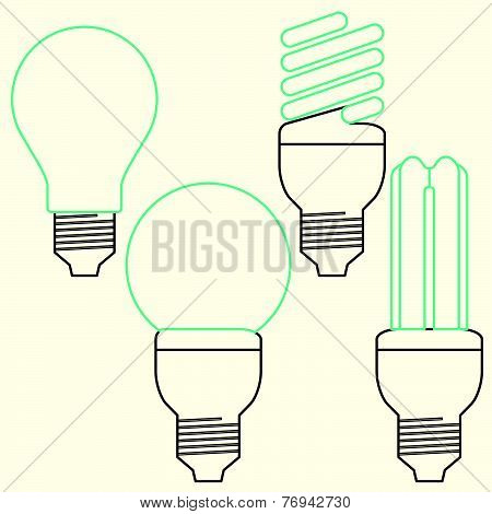 Energy Saving bulb, compact fluorescent lamp and Incandescent lamp