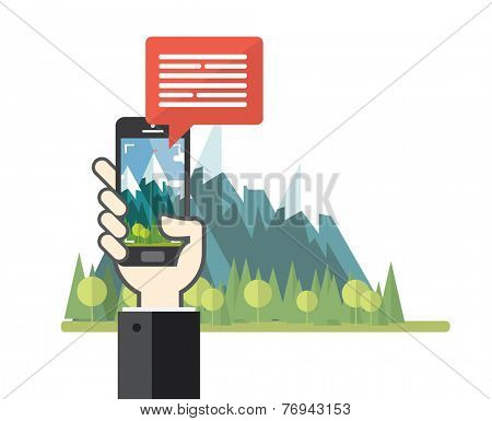 Smartphone taking photo of nature landscape - Flat design