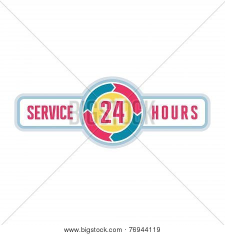 Service around the clock - 24 hours a day logo illustration.