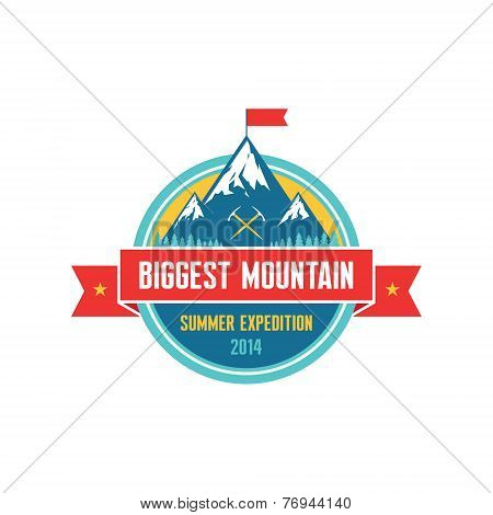 Biggest Mountain - Summer Expedition 2014 - Vector logo badge for creative design projects. Adventur