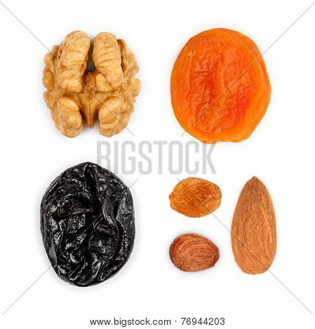 Collection Of Dried Fruits: Walnuts, Dried Apricots, Prunes, Raisins, Hazelnuts, Almonds