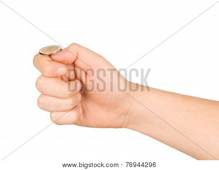 A Man Getting Ready To Flip A Coin. Isolated On White Background