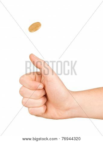 Golden Coin Flip On Isolated White Background