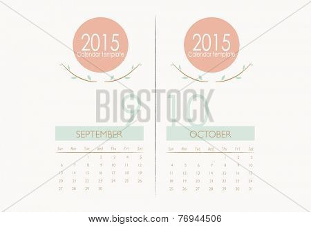 2015 calendar, monthly calendar template for September and October. Vector illustration.
