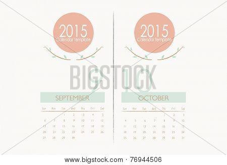 2015 calendar, monthly calendar template for September and October. Vector illustration.