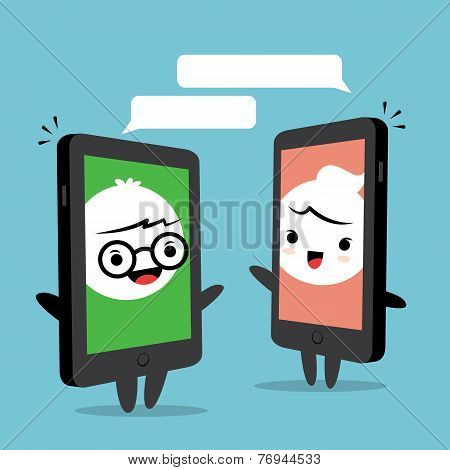 Smartphone Chat Cartoon