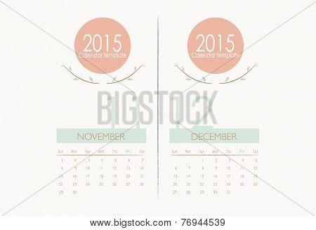2015 calendar, monthly calendar template for November and December. Vector illustration.