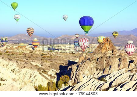 Hot Air Balloon Flying Over Cappadocia.