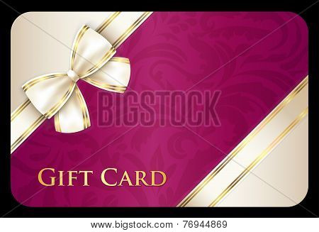 Scarlet Gift Card With Cream Diagonal Ribbon