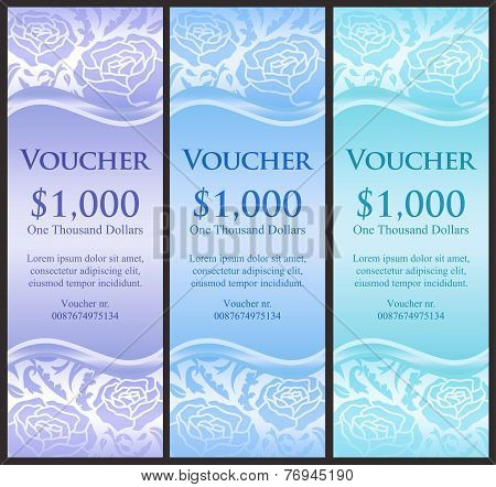Vertical Voucher With Rose Decoration In Blue Tones