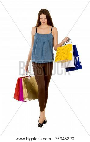 Fashion Shopping Model Girl Full Length Portrait. Beauty Woman With Shopping Bags Isolated On White.