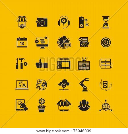 Black flat icons set. Business object, office tools. Marketing, social, creative stuff.