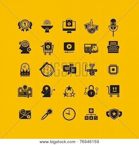 Black flat icons set. Business object, office tools. Marketing, social, creative stuff.