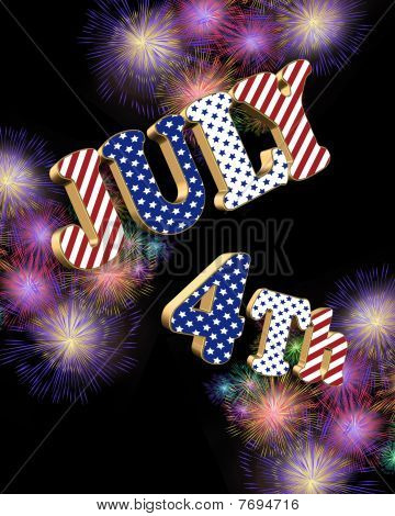 July 4th fireworks with 3D text