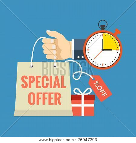 Limited Time Special Offer Concept. Flat Design Stylish.