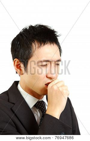 Japanese businessman suffer from a bad cough