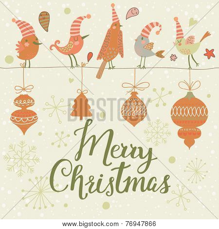 Vintage Merry Christmas card in vector. Cute funny birds in holiday concept background with vintage toys