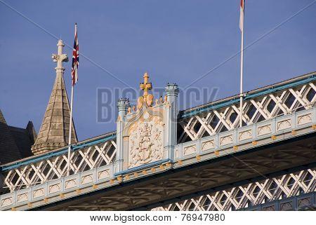 Crest Badge detail, Tower Bridge, London, UK