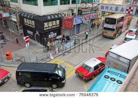 Taxi And Unidentified People Near Wan Chai Metro Station