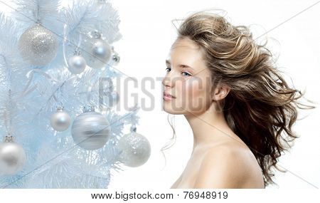 closeup beauty portrait of attractive  caucasian  woman