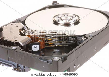 Hayward, CA, November 25, 2014: Internal platters of a Seagate Barracuda 500GB hard drive