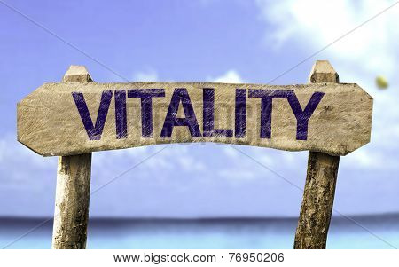 Vitality sign with a beach on background