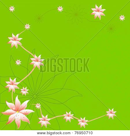Beautiful sppring flower on green background