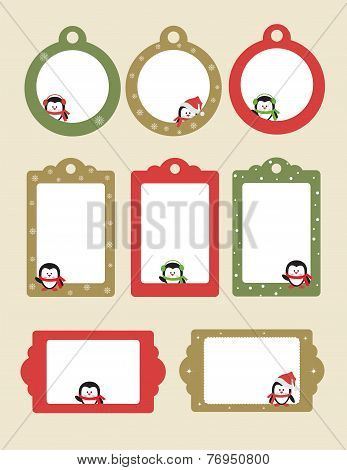 Blank templates With Cartoon Penguins for Christmas greeting card, postcard or photo farme
