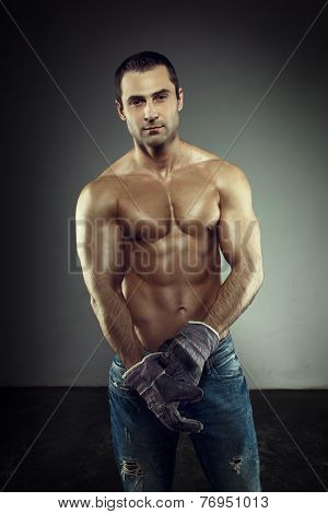 Sexy Macho Worker Posing