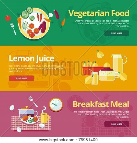 Set of flat design concepts for vegetarian food, lemon juice, breakfast meal.  Concepts for web bann