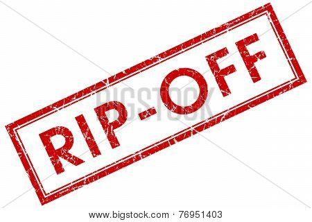 Rip Off Red Square Stamp Isolated On White Background
