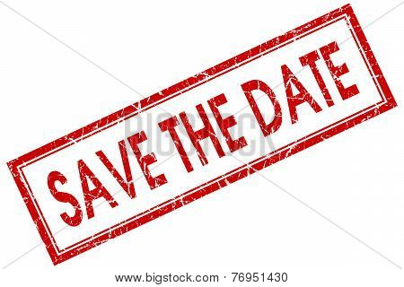 Save The Date Red Square Stamp Isolated On White Background